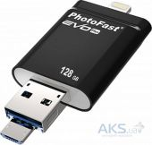 Гаджет PHOTOFAST i-Flashdrive EVO Plus 128Gb  (USB3.0-microUSB/Lightning) Black (EVOPLUS128GBU3)