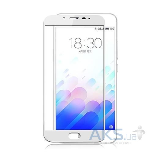 Защитное стекло Tempered Glass 3D Full Cover Meizu M3 Note White