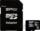 Карта памяти Silicon Power 16 GB microSDHC Class 10 UHS-I Elite + Adapter (SP016GBSTHBU1V10-SP)