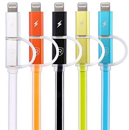Кабель USB Remax Aurora Cable Lightning+micro USB Black