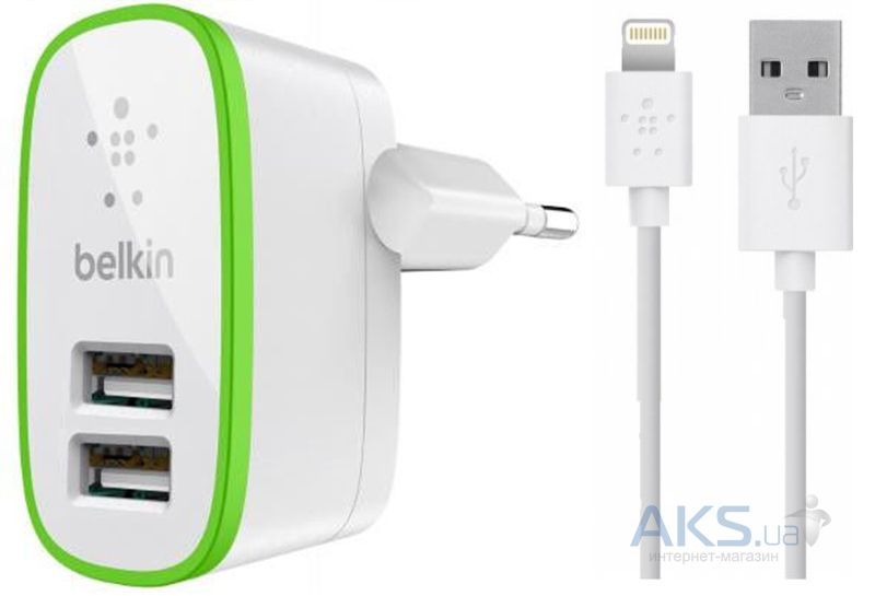 Зарядное устройство Belkin 2 USB Home Charger (2,1A/10Watt) + Lightning Cable White (BK670)