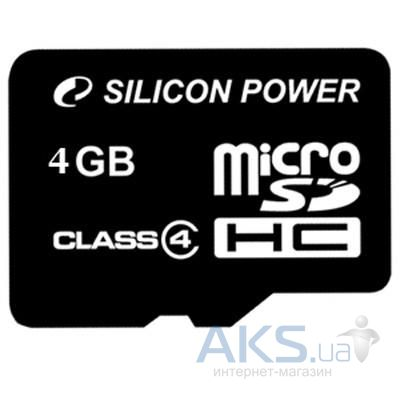 Карта памяти Silicon Power 4Gb microSDHC class 4 (SP004GBSTH004V10)