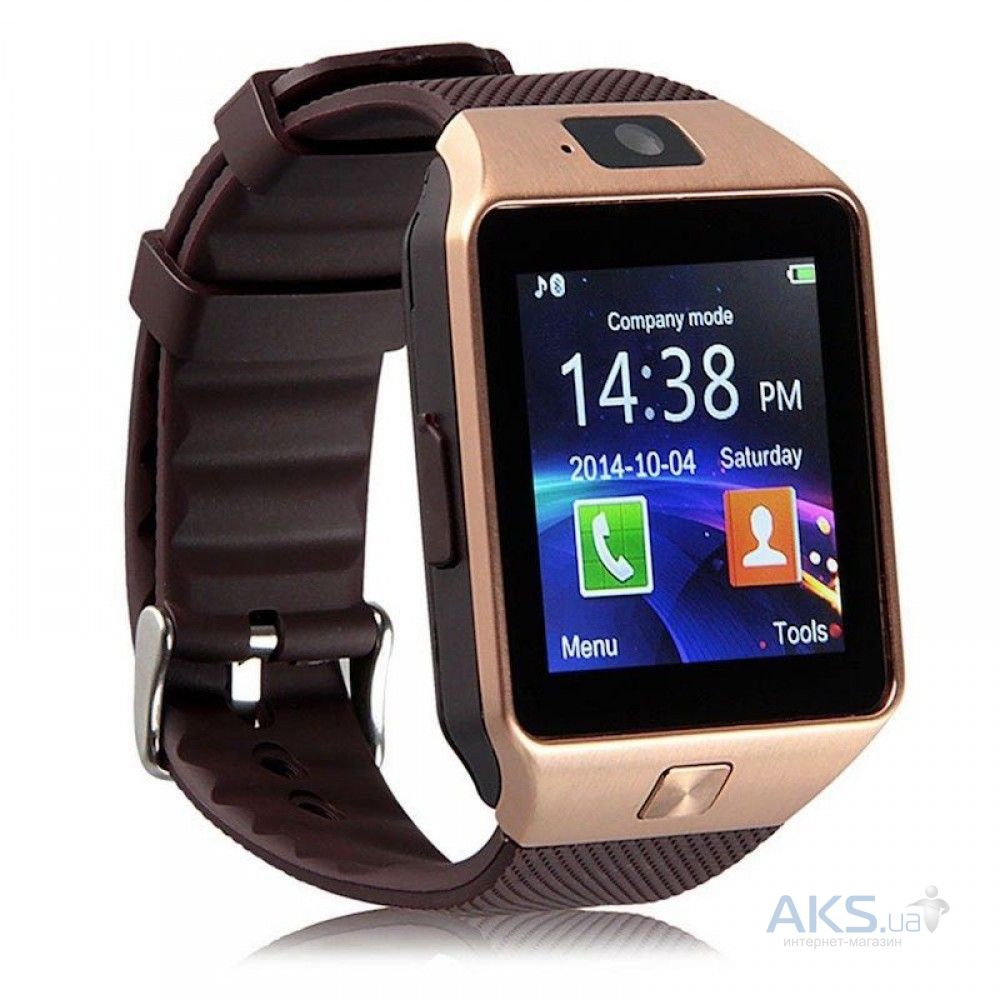 Умные часы UWatch Smart DZ09 Bronze with Brown strap