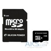 Карта памяти Silicon Power 4GB microSDHC Class 4 + SD Adapter (SP004GBSTH004V10-SP)