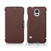 Чехол iCarer Side-open Litchi Samsung G900 Galaxy S5 Coffee