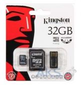 Вид 2 - Карта памяти Kingston 32GB MicroSDHC Class 10 + SD adapter + USB reader (MBLY10G2/32GB)