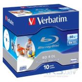 Диск Verbatim BD-R DL 50Gb 6x Jewel 10шт Wide Printabl (43736)