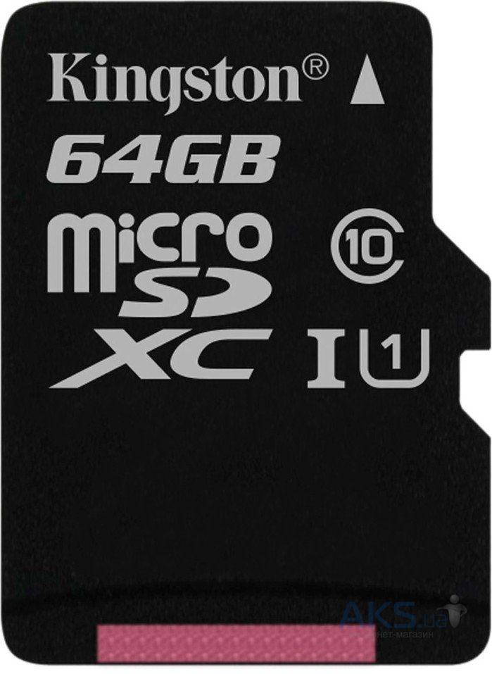 Карта памяти Kingston 64Gb microSDXC class 10 UHS-I (SDCS/64GBSP)