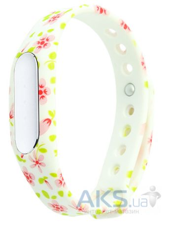 Ремешок к спортивному браслету Xiaomi Mi Band / 1S Pulse Flowers on White Style EasyAcc