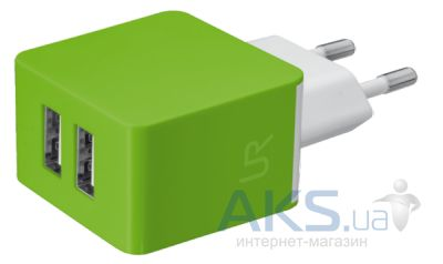 Зарядное устройство Urban Revolt DUAL SMART WALL CHARGER (1A/1A) Lime