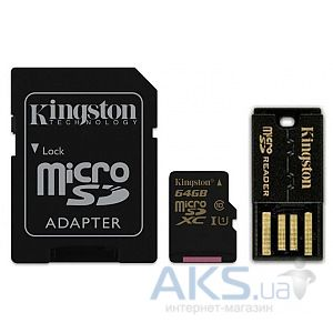 Карта памяти Kingston 64GB microSDXC Class 10 + SD adapter + USB reader (MBLY10G2/64GB)