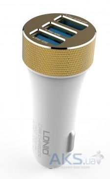Зарядное устройство LDNio 3USB Car charger + Micro USB 5.1A White (DL-C50)