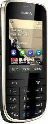 Сенсор (тачскрин) для Nokia Asha 202, Asha 203 with frame Original Gold