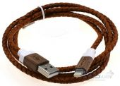 Кабель USB Usams Lightning Leather iPhone 5/5S 1m Brown