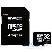 Карта памяти Silicon Power 32GB microSDHC class 4 + SD Adapter (SP032GBSTH004V10-SP)