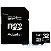 Вид 1 - Карта памяти Silicon Power 32GB microSDHC class 4 + SD Adapter (SP032GBSTH004V10-SP)