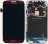 Дисплей (экран) для телефона Samsung Galaxy S4 I9500 + Touchscreen with frame Original Red