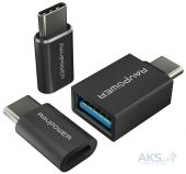 Набор переходников 3 в 1 RAVPower USB C Adapter USB C to Micro USB, USB C to USB 3.0 Adapter, Data Transfer RP-PC007