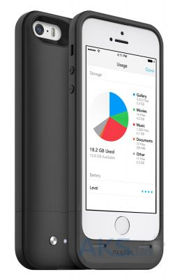 Чехол Mophie Space Pack 16 GB 1700 mAh for iPhone 5/5S Black