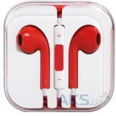 Наушники (гарнитура) Apple EarPods with Remote and Mic (MD827) high copy Red