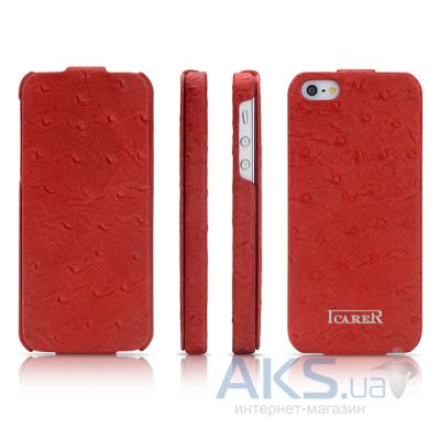Чехол iCarer Fake Ostrich Apple iPhone 5, iPhone 5S, iPhone 5SE Red