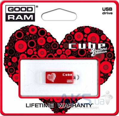 Флешка GooDRam Cube Valentine  8Gb Red