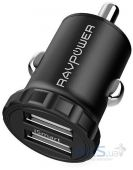 Зарядное устройство RavPower 24W 4.8A Smallest Dual Car Adapter with iSmart 2.0 Black (RP-PC031)