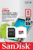 Карта памяти SanDisk 8GB microSDHC Class 10 Ultra UHS-I (48MB/s) Android + SD Adapter (SDSDQUAN-008G-G4A)