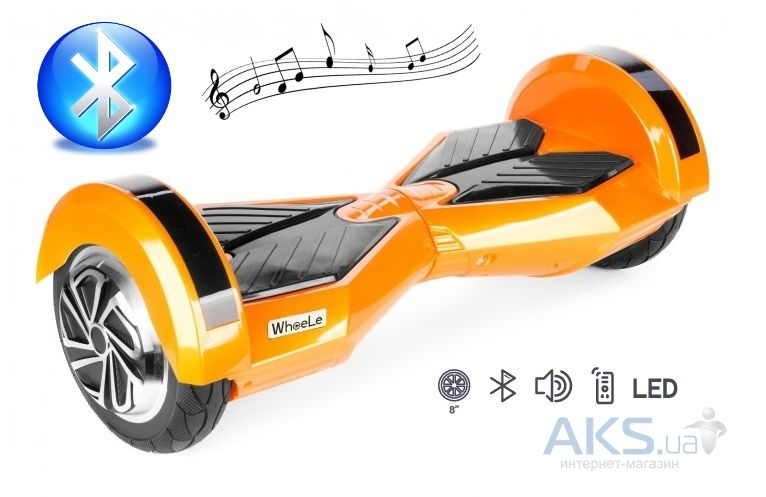 "Гироскутер Wheele W4 LED (Bluetooth и Аудио) N3 (8"") Orange"