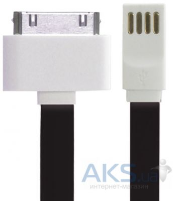Кабель USB Gelius Gold Edition Flat iPhone 4 Black