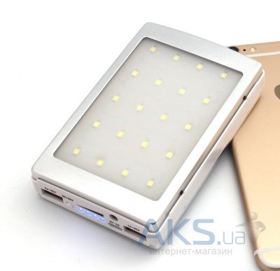 Внешний аккумулятор MANGO Solar & TURBO LED X20 Power Bank 12000mAh Silver
