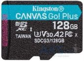 Карта памяти Kingston microSDXC 128GB Canvas Go Plus Class 10 UHS-I U3 V30 A2 (SDCG3/128GBSP)