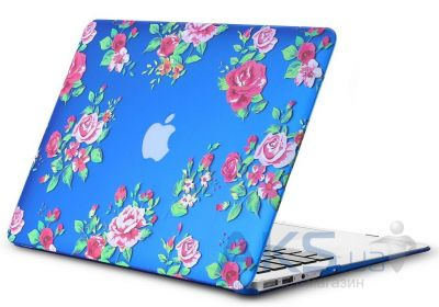 Чехол Kuzy Vintage Flower Case for MacBook Air 13 Blue