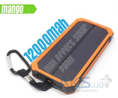 Внешний аккумулятор MANGO Solar IPx6 6 LED Power Bank 12000mAh Black/Orange