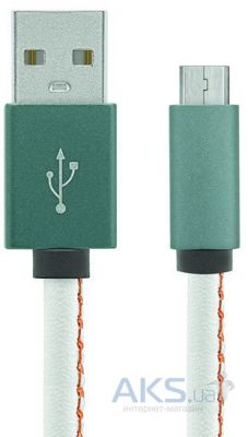 Кабель USB Gelius Leather Edition Micro USB White / Green