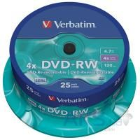 Диск Verbatim DVD-RW 4.7Gb 4x CakeBox 25 шт silver (43639)