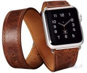 Ремешок Icarer для Apple Watch 42mm Classic Genuine Leather Quadri Watch band Series Brown