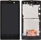 Дисплей (экран) для телефона Sony Xperia Ion LT28h + Touchscreen with frame Original Black