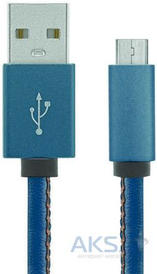 Кабель USB Gelius Leather Edition MicroUSB Blue