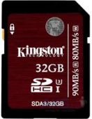 Карта памяти Kingston 32GB SDHC Ultimate Class10 UHS-I U3 (90Mb/s) (SDA3/32GB)