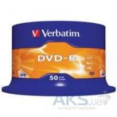 Диск Verbatim DVD-R Verbatim 4.7Gb 16X CakeBox 50шт (43548)