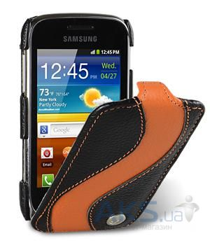 Чехол Melkco Jacka special leather case for Samsung S6500 Galaxy Mini 2 Black / Orange