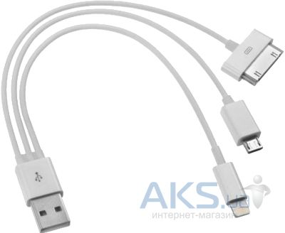 Кабель USB Siyoteam Зарядный 3 в 1 micro USB / Apple 30-pin / Lightning Белого цвета