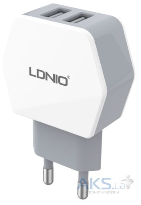 Зарядное устройство LDNio Dual Home Charger + Micro USB Cable 2.1A White (DL-AC61)