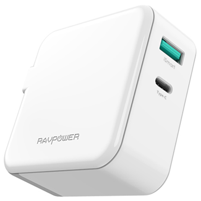 Сетевое зарядное устройство  RavPower 2-Port Wall Charger (EU) 45W AC + PD + QC3.0 White (RP-PC081WH)