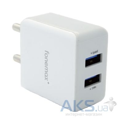 Зарядное устройство FoneMax X-Power DualUSB Travel Charger (2.1A/10W, 2USB) White (FM-XP-AC200WH) White
