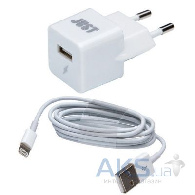 Зарядное устройство JUST JUST Atom USB Wall Charger (1A/5W, 1USB) White + Lightning cable (WCHRGR-TMLGHT-WHT)