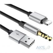 Baseus L34 Lightning to 3.5mm & USB Charging Audio Cable 1.2 м Black