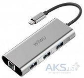 Концентратор (USB хаб) WIWU Adapter Apollo USB-C to RJ45 + 3xUSB3.0 HUB Gray (A430R)