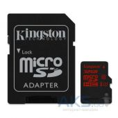 Карта памяти Kingston 32GB microSDHC Class 10 UHS-I U3 R90/W80MB/ s+ SD Adapter (SDCA3/32GB)